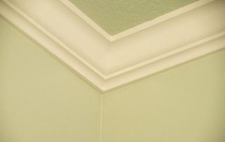 green room with white crown molding